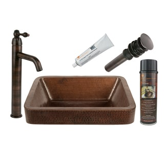Premier Copper Products BSP1_VREC17SKDB Vessel Sink, Faucet, and Accessories Package