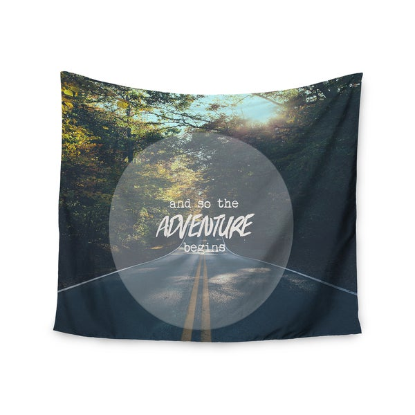 """Kess InHouse Ann Barnes """"The Adventure Begins"""" Typography Nature Wall Tapestry 51'' x 60''"""