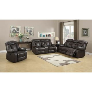 Otto Brown Faux-leather Reclining Sofa, Loveseat, and Glider Reclining Chair