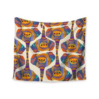 Kess InHouse Pom Graphic Design 'Elephant Play' Orange Animal Print51x60-inch Wall Tapestry