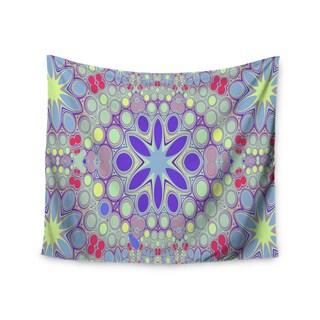 "Kess InHouse Alison Coxon ""Hippy Flowers"" Lavender Kaleidoscope Wall Tapestry 51'' x 60''"