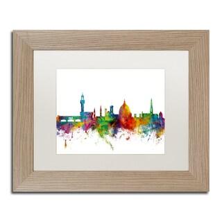 Michael Tompsett 'Florence Italy Skyline White' Matted Framed Art