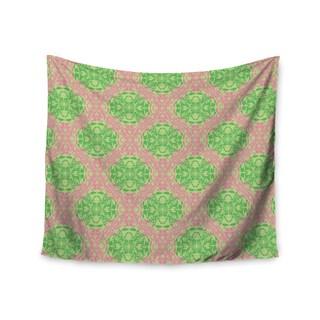 "Kess InHouse Mydeas ""Diamond Illusion Damask Watermelon"" Pink Green Wall Tapestry 51'' x 60''"