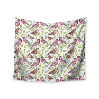 "Kess InHouse Alisa Drukman ""Sparrow And Bullfinch"" Pink Green Wall Tapestry 51'' x 60''"