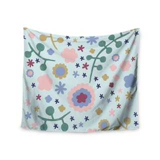 "Kess InHouse Alik Arzoumanian ""Morning Flowers"" Pink Blue Wall Tapestry 51'' x 60''"