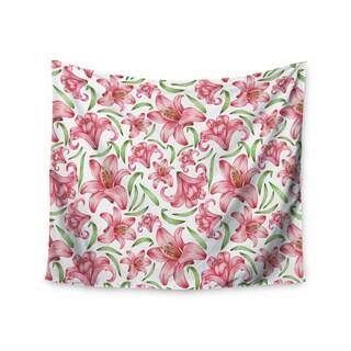 "Kess InHouse Alisa Drukman ""Lily Flowers"" Pink Nature Wall Tapestry 51'' x 60''"