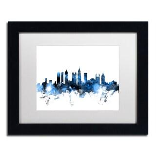 Michael Tompsett 'Atlanta Georgia Skyline White' Matted Framed Art