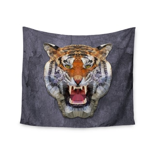 "Kess InHouse Ancello ""Abstract Tiger"" Gray Orange Wall Tapestry 51'' x 60''"
