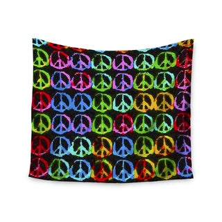 """Kess InHouse Anne LaBrie """"Give Peace A Chance"""" Green Pop Art Wall Tapestry 51'' x 60''"""