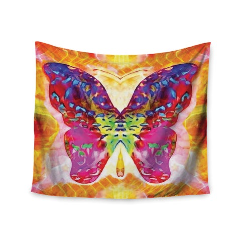 """Kess InHouse Anne LaBrie """"Butterfly Spirit"""" Pink Yellow Wall Tapestry 51'' x 60''"""