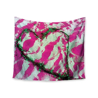 """Kess InHouse Anne LaBrie """"Pink Tiger Love"""" Pink Green Wall Tapestry 51'' x 60''"""