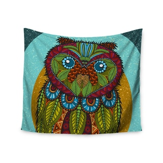 """Kess InHouse Art Love Passion """"Owl"""" Teal Multicolor Wall Tapestry 51'' x 60''"""