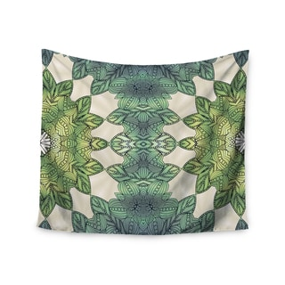 Kess InHouse Art Love Passion 'Forest Leaves' Green Teal Celtic Abstract51x60-inch Wall Tapestry