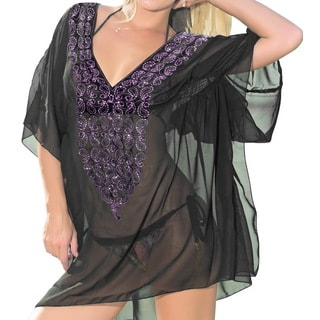 La Leela Bikini Cover up V Neck Beach Wear Top Tunic Swimsuit Kaftan Short Sleeves Sheer Chiffon Resort