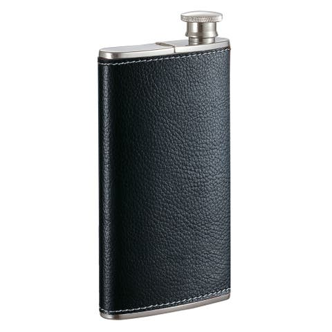 Visol Edian Stainless Steel 4 oz Flask with Built-in Cigar Case - Black Leather
