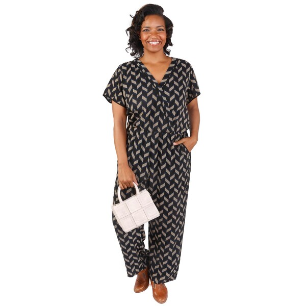 e77bf976f31 Shop Hadari Women s Plus Size V-Neck Short Sleeves Chevron Jumpsuit ...