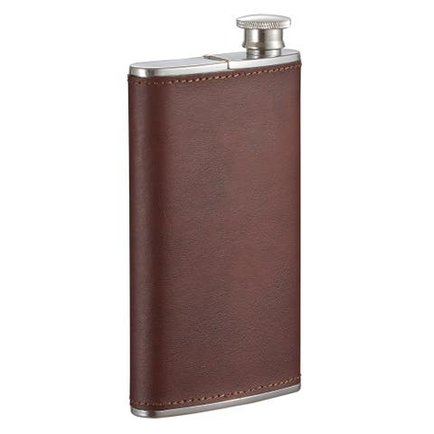 Visol Edian Stainless Steel 4 oz Flask with Built-in Cigar Case - Brown Leather