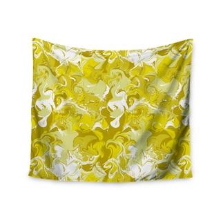 "Kess InHouse Anneline Sophia ""Marbleized In Gold"" Yellow Wall Tapestry 51'' x 60''"