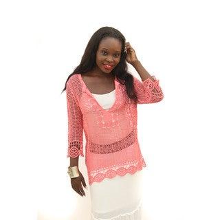 Hadari Women's Long Sleeve Round Neck Crochet Top