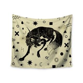 "Kess InHouse Anya Volk ""Wolf"" Beige Illustration Wall Tapestry 51'' x 60''"