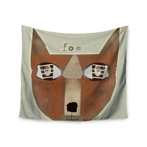 "Kess InHouse Bri Buckley ""Fox Face"" Brown Tan Wall Tapestry 51'' x 60''"