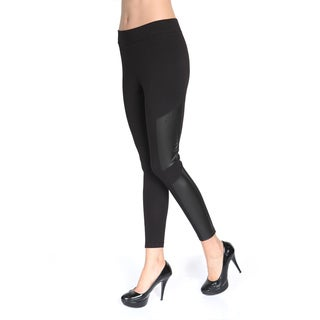 Pierre Cardin Women's Nostro Black Cotton and Spandex Leggings with Pleather Detail