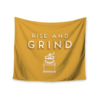 "Kess InHouse Busy Bree ""Rise And Grind"" Gold Illustration Wall Tapestry 51'' x 60''"