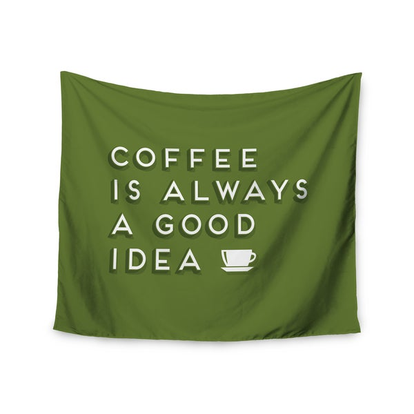 "Kess InHouse Busy Bree ""Good Idea"" Green Tyopgraphy Wall Tapestry 51'' x 60''"
