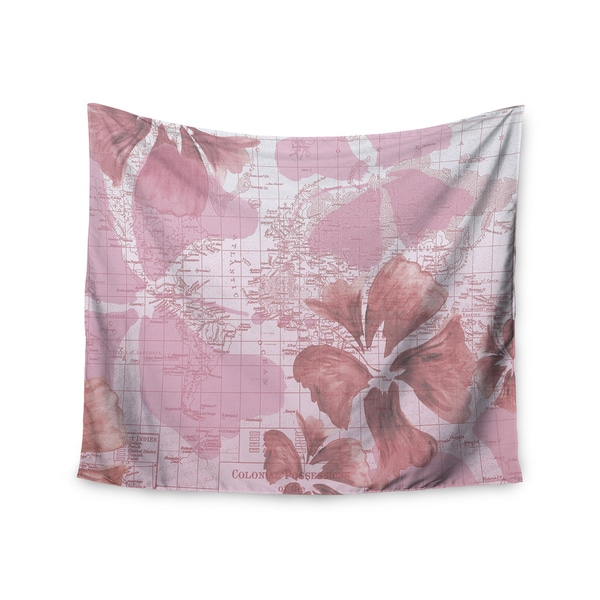 Kess InHouse Catherine Holcombe 'Flower Power Pink' 51x60-inch Wall Tapestry