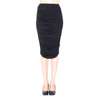 JED Women's Rayon and Spandex Ruched Stretchy Pencil Skirt