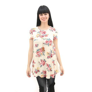 Hadari Women's Short Sleeve Keyhole Back Floral Top