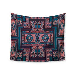 Kess InHouse Nika Martinez 'Golden Art Deco Blue & Coral' 51x60-inch Wall Tapestry