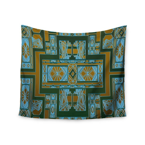 Kess InHouse Nika Martinez 'Golden Art Deco Green & Blue' 51x60-inch Wall Tapestry