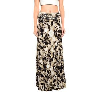 JED Women's High-waist Foldover Tie-dye Maxi Skirt