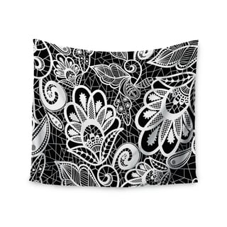 Kess InHouse Petit Griffin 'Floral Lace BW' 51x60-inch Wall Tapestry