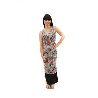 Hadari Women's Sleeveless Racer Back Tribal Maxi Dress
