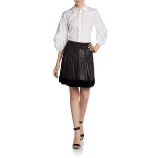 Catherine Malandrino Women's Anora Black Silk, Velvet Pleated Short Skirt