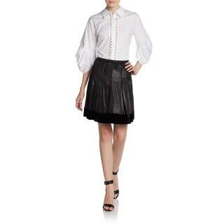 Catherine Malandrino Women's Anora Black Silk, Velvet Pleated Short Skirt