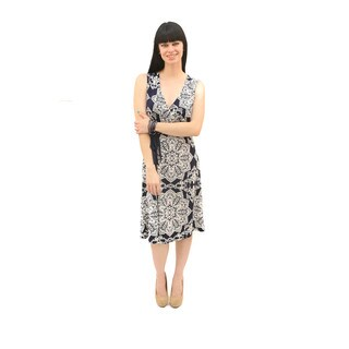 Hadari Women's Overlapped Front Sleeveless Navy Paisley Dress