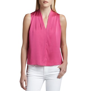 Elie Tahari Women's Shira Pink Silk Size M V-Neck Blouse