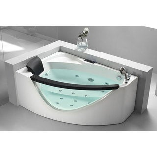 eago am198 r 5 foot right drain clear corner whirlpool bathtub