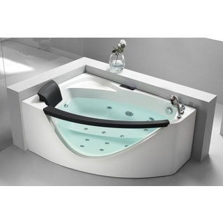 EAGO AM198-R 5-foot Right Drain Clear Corner Whirlpool Bathtub