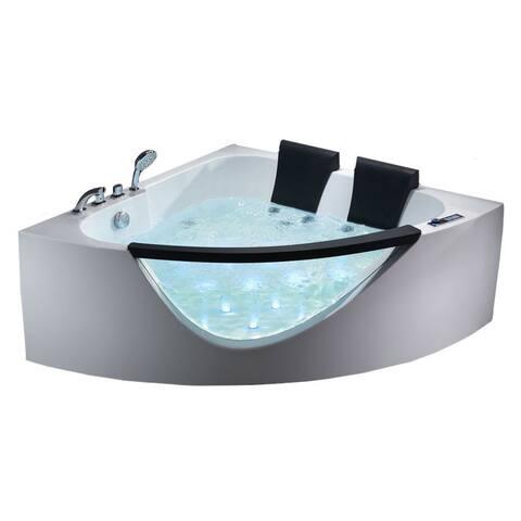 EAGO AM199HO 5-foot Double Seat Corner Whirlpool Bath Tub with Inline Heater