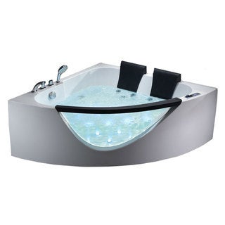EAGO AM199HO 5-foot Double Seat Corner Whirlpool Bath Tub with Inline Heater