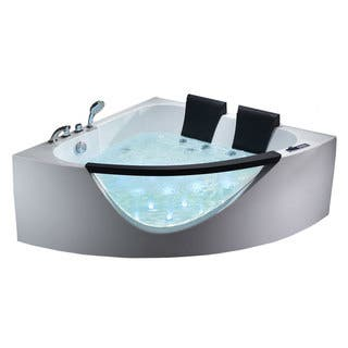 corner jet bath tub. EAGO AM199HO 5 foot Double Seat Corner Whirlpool Bath Tub with Inline Heater Jetted Tubs For Less  Overstock com