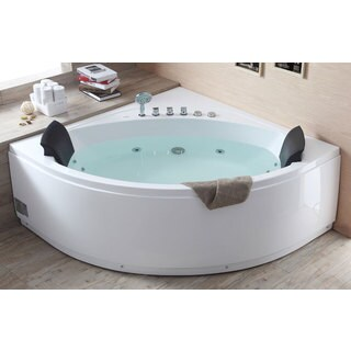 EAGO AM200 5-foot Rounded Modern Double-seat Corner Whirlpool Bathtub