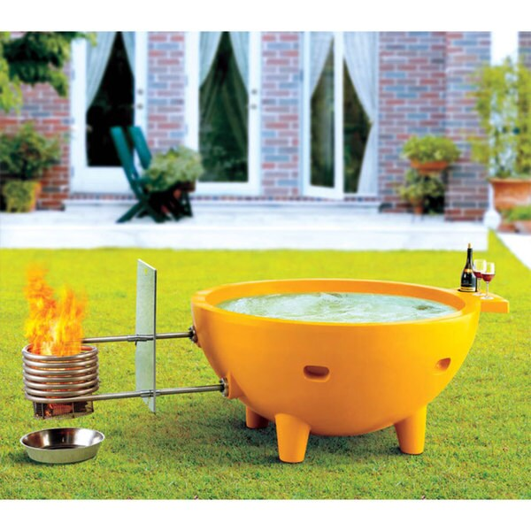 ALFI Brand Orange Fiberglass Round Portable Outdoor Hot Tub
