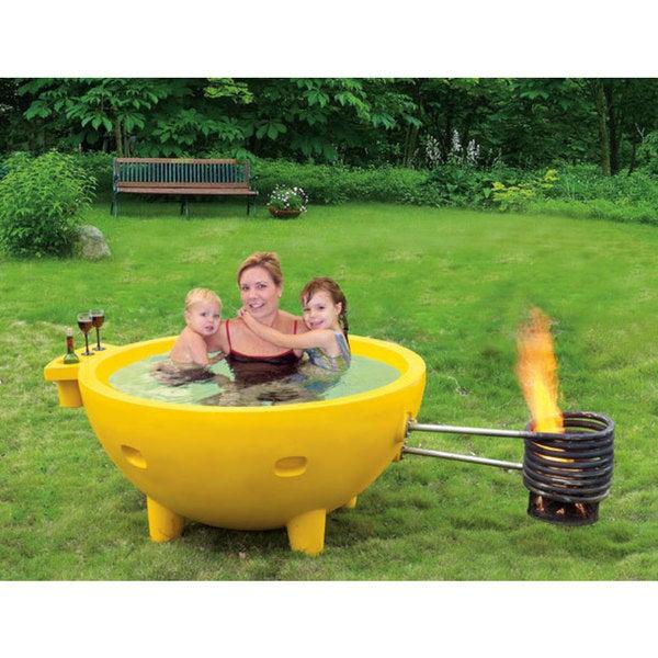 Alfi brand yellow fiberglass round portable outdoor hot for Fiberglass garden tubs