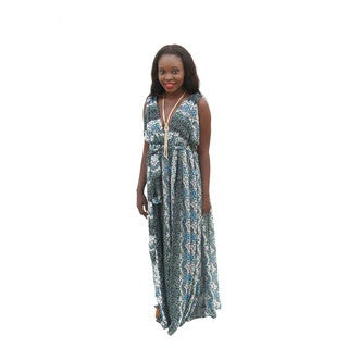 Hadari Women's Sleeveless V-neck Floral Maxi Dress