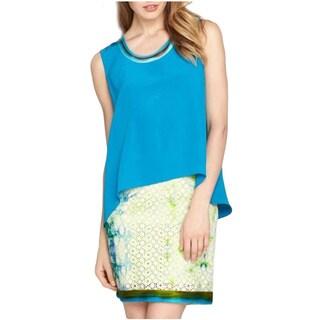 Elie Tahari Women's Turquoise Silk Chase Blouse